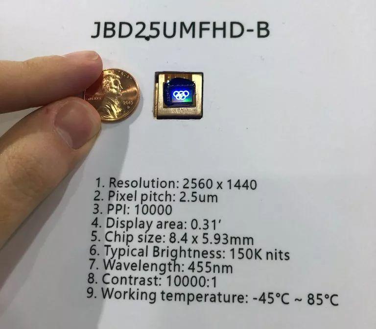 300万尼特,JBD为VR/AR带来迄今最亮MicroLED显示器  第2张