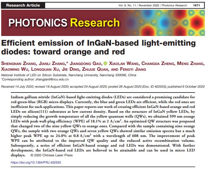 MicroLED新突破!江风益院士团队大幅提升橙-红光LED发光性能  第1张