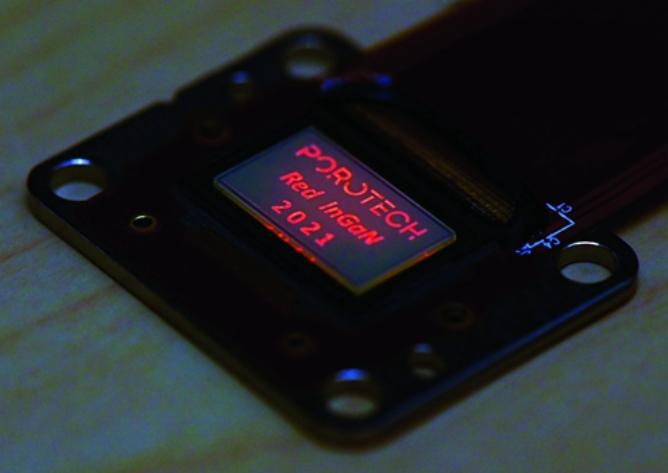 Porotech宣布成功开发全球首款InGaN基红光MicroLED显示器!